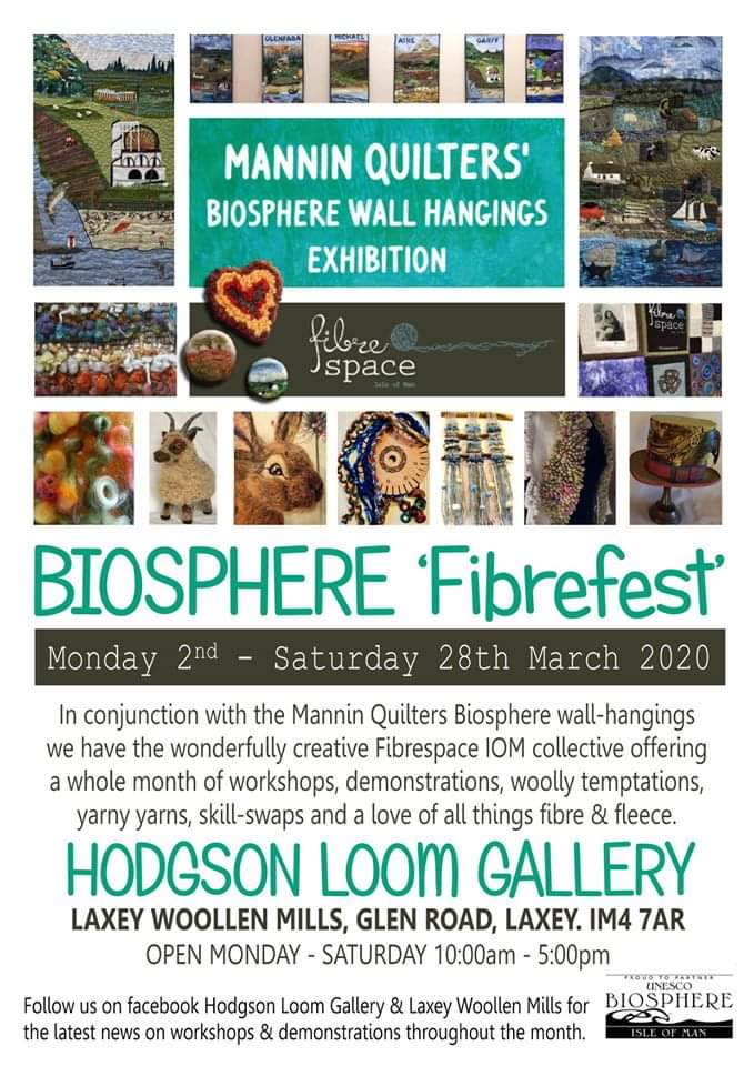 Events on the Isle of Man - the Mannin Quilters Biosphere Fibrefest poster